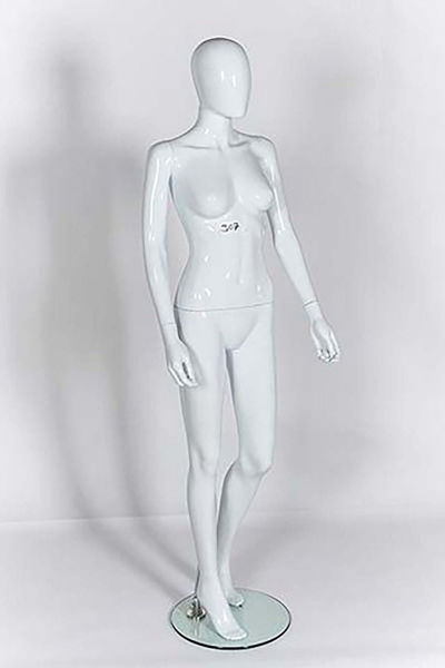 Picture of Full Body female Mannequin - Gloss White - window display - Knee Bent (R307)