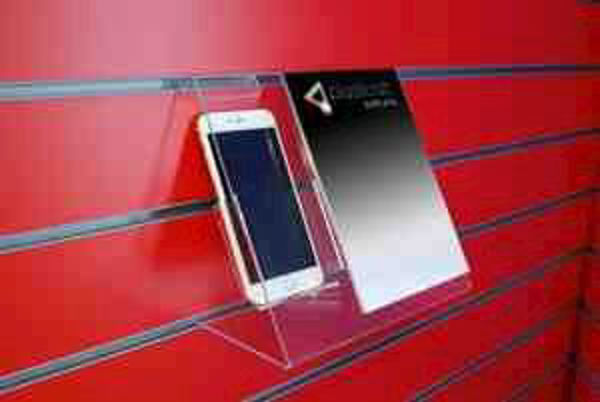 Picture of Slatwall Phone Holder with A5 Poster Holder & Security Fixing