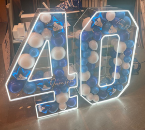 Picture of 750mm Clear Acrylic 3D Letter / Numbers Balloon Decoration Display with LED Lights