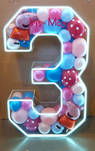 Picture of 1m Clear Acrylic 3D Letter / Numbers Balloon Decoration Display with LED Lights