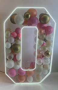 Picture of 4ft Clear Acrylic 3D Letter / Numbers Balloon Decoration Display with LED LIghts